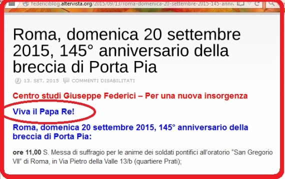 Viva il Papa Re 20 sep 2015 -